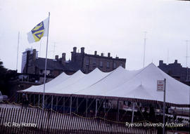 Tent in quad - sod turning for Jorgenson Hall
