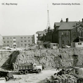 Excavation for Howard Kerr Hall construction