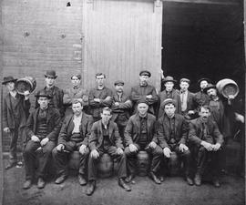 copy of O'Keefe Brewery Co., Gould St., south west corner. Victoria St.; group portrait of staff....