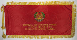 Red Lithuanian flag with yellow tassels and cord