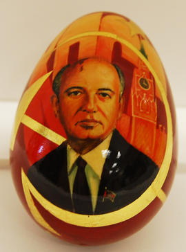 Wooden egg with painting of Gorbachev