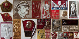 Mounted object with various lapel pins of Lenin