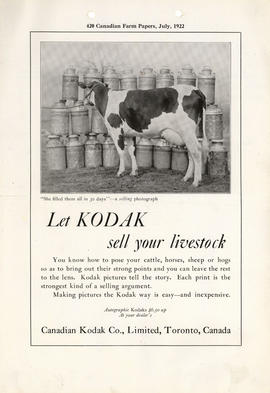 Let Kodak sell your livestock : Autographic Kodaks $6.50 up at your dealer's / Canadian Kodak Co....