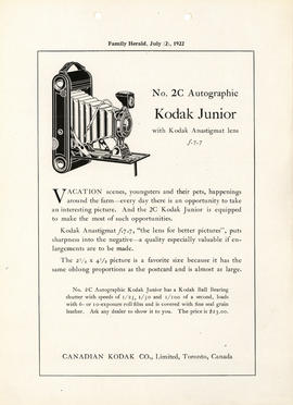 No. 2C Autographic Kodak Junior with Kodak Anastigmat lens f.7.7 : Canadian Kodak Co., Limited, T...