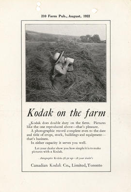 Kodak on the farm : Autographic Kodaks $6.50 up--At your dealer's / Canadian Kodak Co., Limited, ...