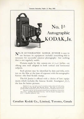 No. 1A Autographic Kodak, Jr. : At all dealers' / Canadian Kodak Co., Limited, Toronto, Canada