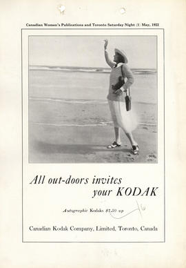 All out-doors invites your Kodak : Autographic Kodaks $7.50 up / Canadian Kodak Company, Limited,...