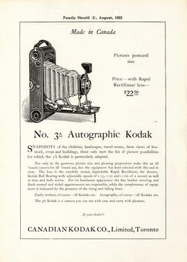 No. 3A Autographic Kodak : Made in Canada / Canadian Kodak Co., Limited, Toronto