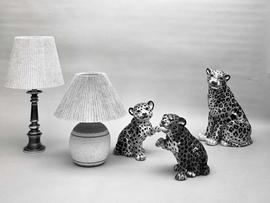 [Lamps and pottery leopards]
