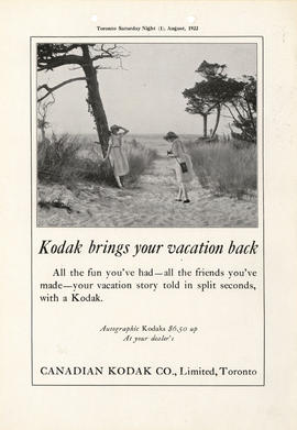 Kodak brings your vacation back : Autographic Kodaks $6.50 up at your dealer's / Canadian Kodak C...