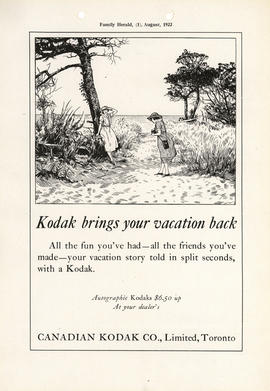 Kodak brings your vacation back : Autographic Kodaks $6.50 up / At your dealer's / Canadian Kodak...