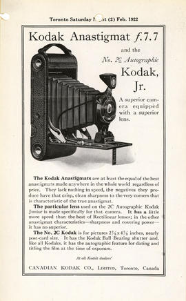 Kodak Anastigmat f.7.7 and the No. 2C Autographic Kodak, Jr. : A superior camera equipped with a ...