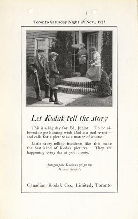 Let Kodak tell the story : Autographic Kodaks $6.50 up at your dealer's / Canadian Kodak Co., Lim...