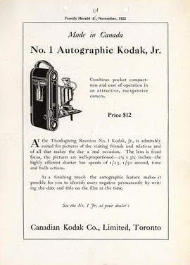 Made in Canada - No. 1 Autographic Kodak, Jr. : Combines pocket compactness and ease of operation...