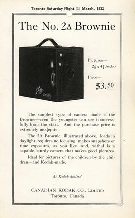 The No. 2A Brownie - Pictures--2 1/2 x 4 1/4 inches - price--$3.50 : At Kodak dealers' / Canadian...