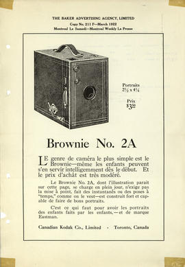 Brownie No. 2A : Portraits 2 1/2 x 4 1/4 Prix $3.50 / Canadian Kodak Co., Limited - Toronto, Canada