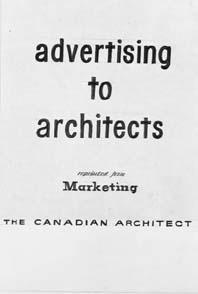 Copy negs - Advertising to architects