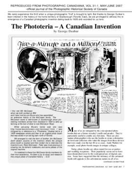 """The Phototeria - A Canadian Invnention"" Photographic Canadiana, Vol. 31-1 1"