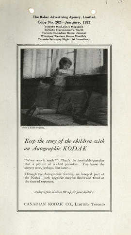 Keep the story of the children with an Autographic Kodak : Autographic Kodaks $9 up, at your deal...