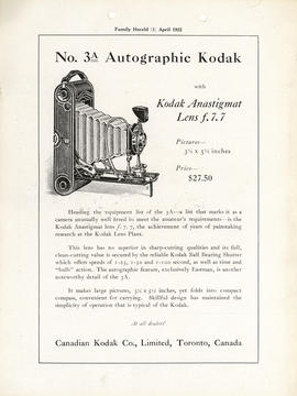 No. 3A Autographic Kodak with Kodak Anastigmat lens f.7.7 : Pictures-- 3 1/4 x 5 1/2 inches Price...