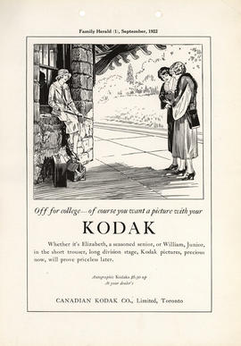 Off for college--of course you want a picture with your Kodak : Autographic Kodaks $6.50 up at yo...