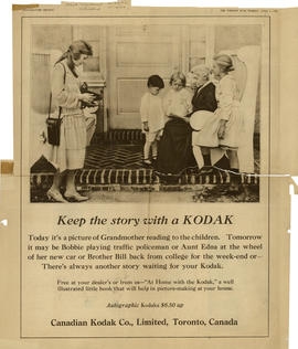 Keep the story with a Kodak : Autographic Kodaks $6.50 up / Canadian Kodak Co., Limited, Toronto,...