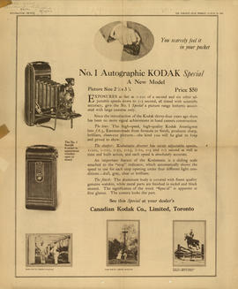 No. 1 Autographic Kodak Special - A new model : You scarcely feel it in your pocket / Canadian Ko...